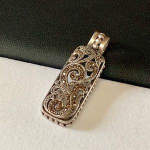 Vtg Sterling Silver & Marcasite Bar Pendant